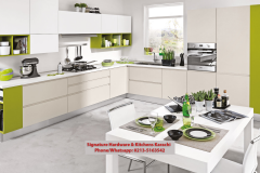 Modern kitchen parrot green white color